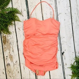 JCREW Peach Halter Ruched One Piece Bathing Suit